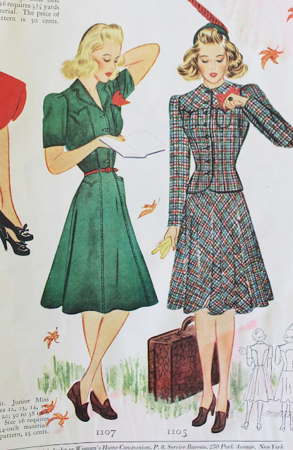 1930s womens fashion magazine dress ad in colo