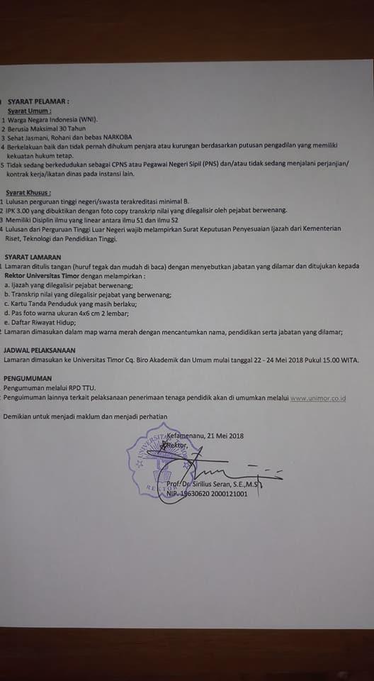 syarat Lowongan 29 Dosen Universitas Timor (UNIMOR)