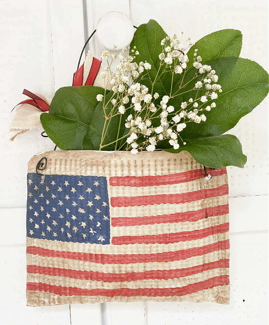 American flag pouch filled with flowers