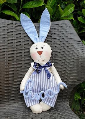 coniglietto tessuto personalizzat con nome bimbo