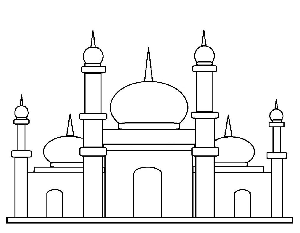 30 Sketsa Gambar Masjid Server Gambar Gambar masjid sederhana hitam putih