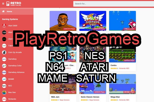 PlayRetroGames - Παίξτε δωρεάν αγαπημένα παιχνίδια από retro κονσόλες μέσα στον browser σας