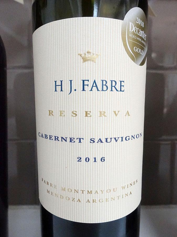 H J. Fabre Reserva Cabernet Sauvignon 2016 (90 pts)