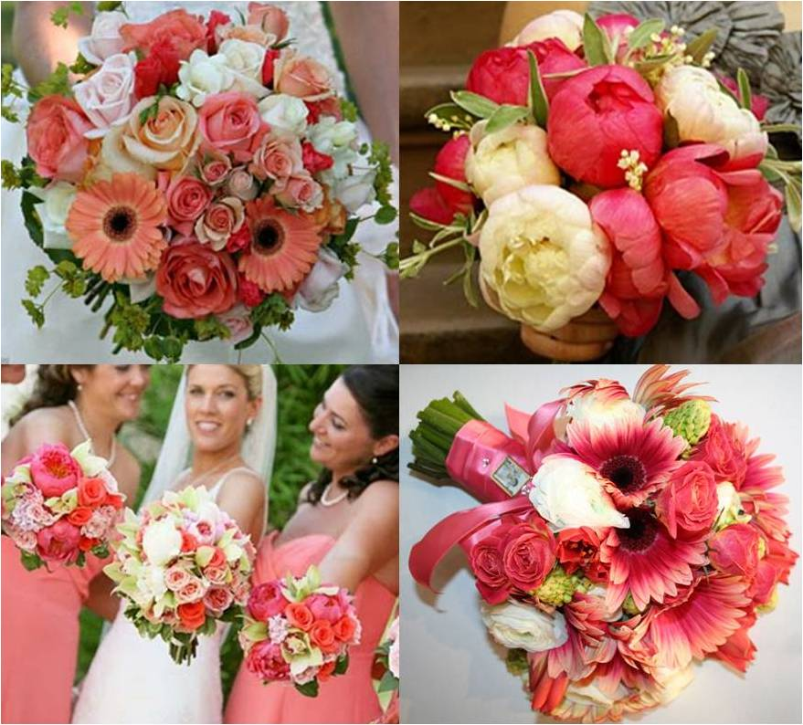Coral And Pink Wedding Flowers: BonnieProjects: Coral Bouquet Inspiration