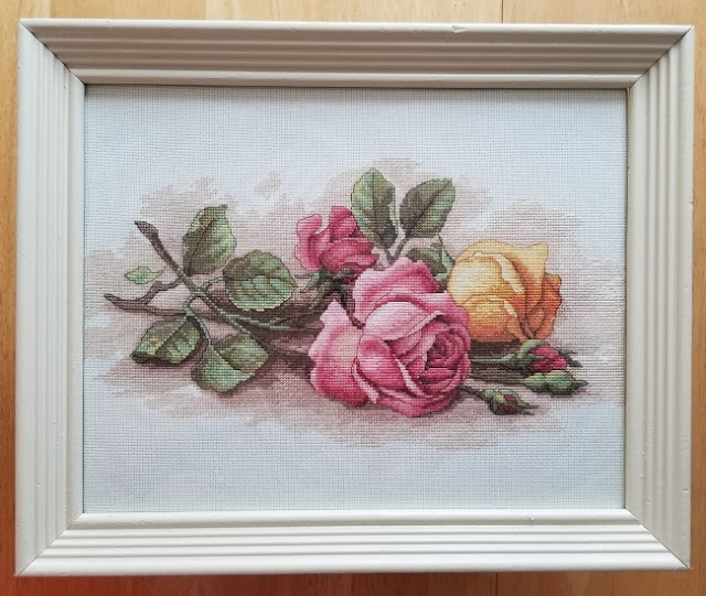 Completed Rose Cuttings Cross Stitch