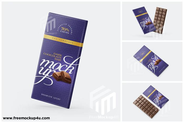 Chocolate Bar 4 different Mockup Set