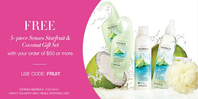 Free Avon 5-piece Senses Starfruit & Coconut Gift Set with your $50+ online Avon order! Click pin for coupon code. #avonrep Shop: https://jenbertram.avonrepresentative.com/