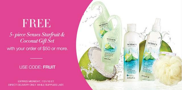 Starfruit & Coconut Gift Set with your $50+ online Avon order! Click pin for coupon code. #avonrep Shop: https://jenbertram.avonrepresentative.com/