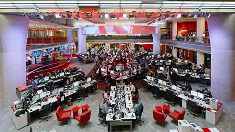An overhead shot of the BBC Newsroom, with Studio E on the left