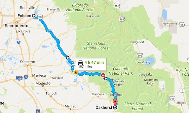 Folsom to Oakhurst map