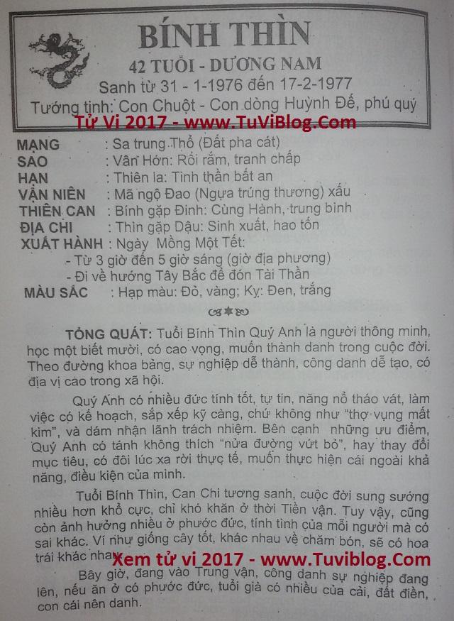 Tu vi 2017 Binh Thin 1976 nam mang