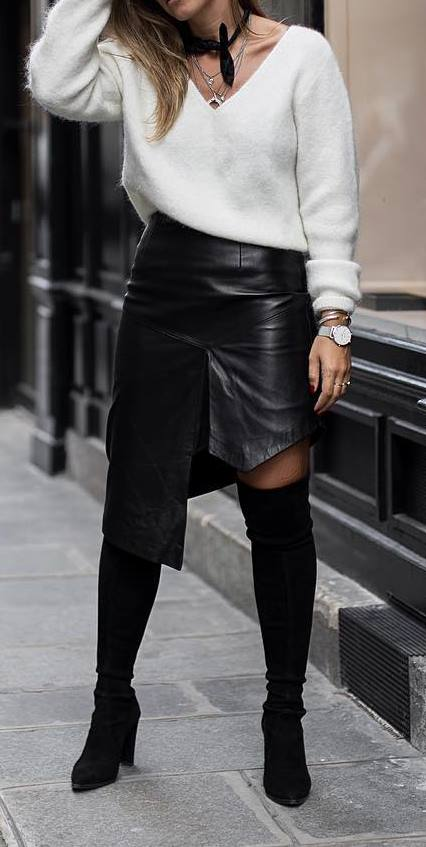 cute outfit idea: top + leather skirt + heels