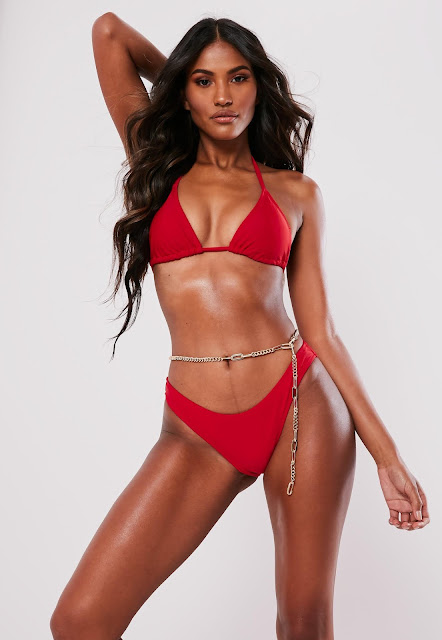 Red Mix And Match High Leg Boomerang Bikini Bottoms