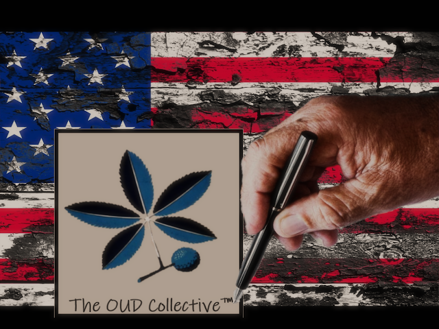 American flag in background with a person's hand finishing the OUD Collective secondary logo