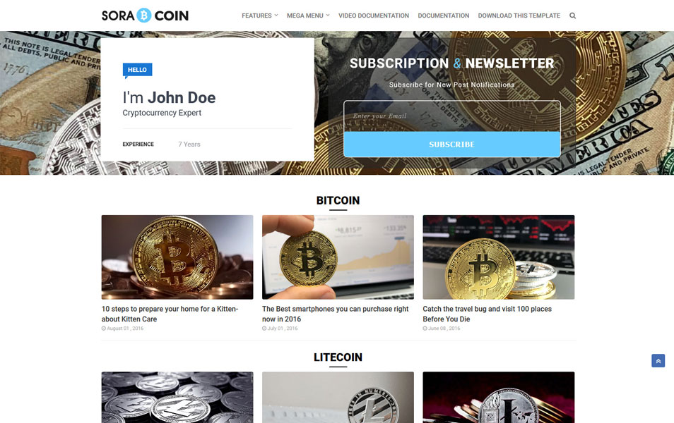 Bitcoin Cryptocurrency Blogger Templates