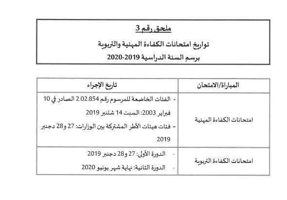 تواريخ امتحانات الكفاءة المهنية و التربوية 2019-2020