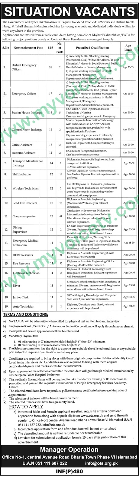 ➨ #Jobs - #Career_Opportunities - at Government of Khyber Pukhtunkhwa Job in Rescue 1122 services in Dristrict Karak  – Read this ad for details - Last date is 14th Feb 2019