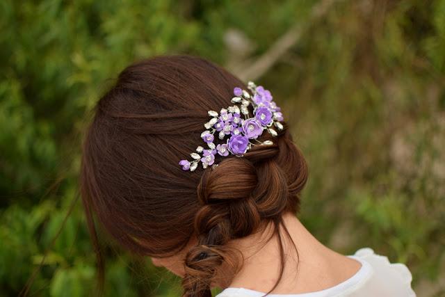 Fioletowy stroik ślubny