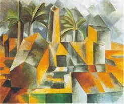 A foto mostra o quadro de arte mais expressiva do cubismo.