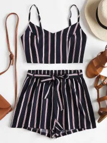 Zaful Striped Cami Belted Shorts Set