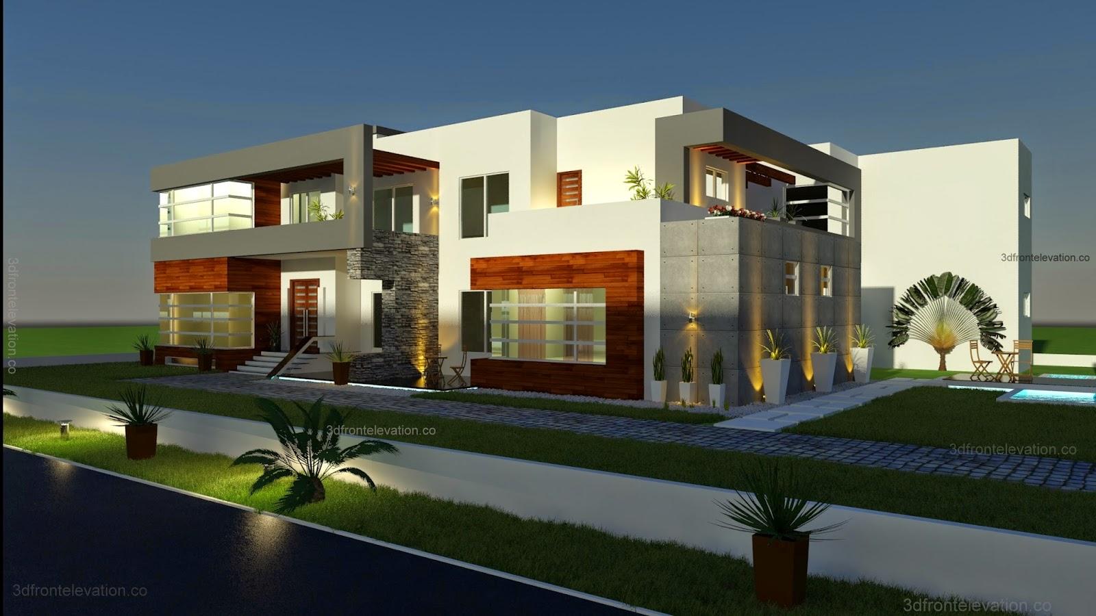Square Home Floor Plans 3d Front Elevation Com 500 Square Meter Modern