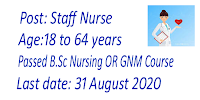 Staff Nurse Vacancies Age limit upto 64 years
