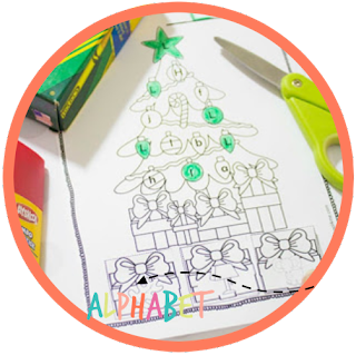 Christmas alphabet practice - kindergarten worksheet