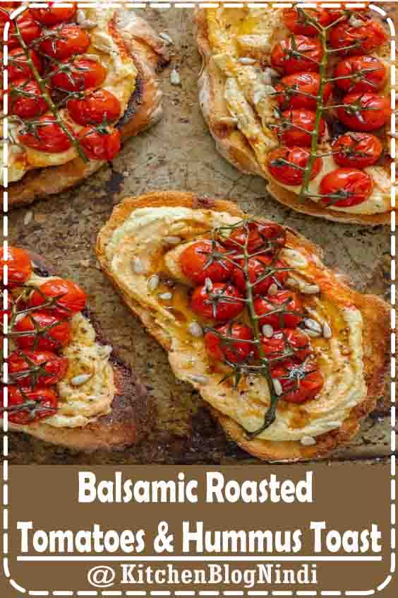 4.9★★★★★ | Crusty sourdough toast topped generously with silky hummus and jewels of sweet balsamic roasted tomatoes. The perfect breakfast, brunch or lunch! Vegan, GF & healthy. #Balsamic #RoastedTomatoes #HummusToast