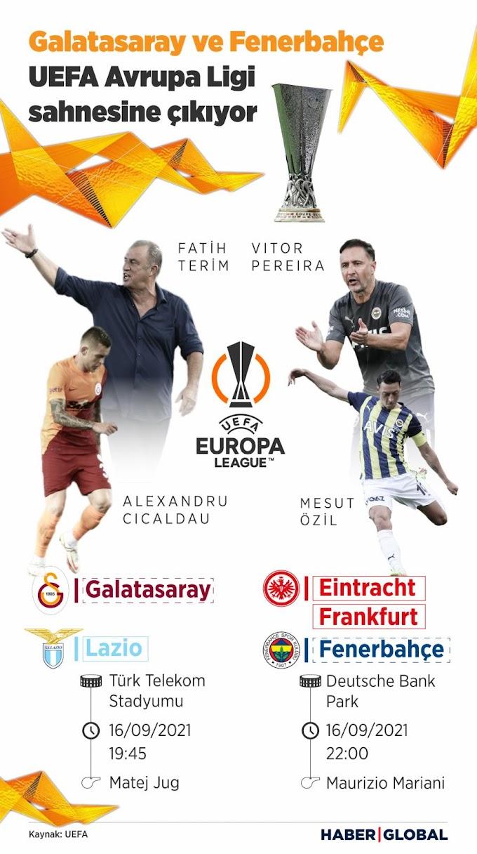 16 Eylül 2021 Perşembe UEFA Avrupa Ligi Maçları EXXEN izle - Galatasaray Lazio EXXEN canlı izle - Eintracht Frankfurt  Fenerbahçe EXXEN Canlı izle