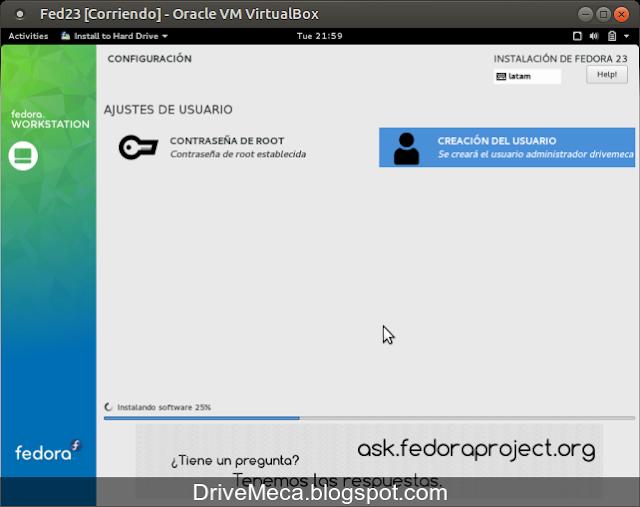 DriveMeca instalando Linux Fedora Workstation 23 paso a paso