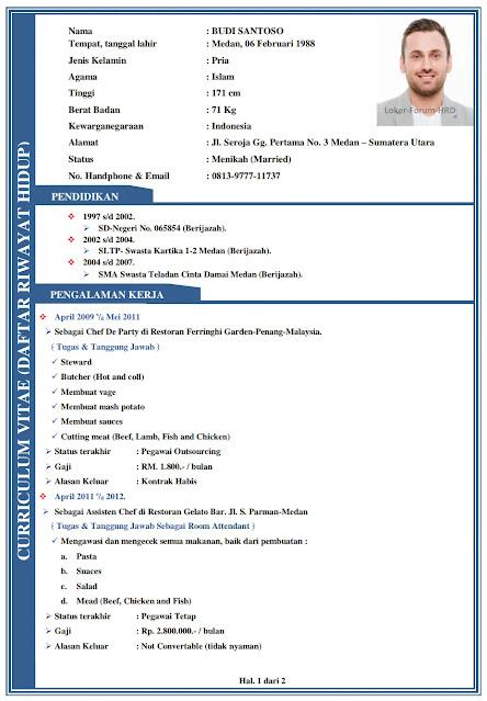 Contoh Daftar Riwayat Hidup Doc. Pdf lengkap & disukai HRD