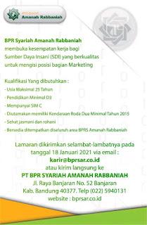 Lowongan Kerja PT. BPR Syariah Amanah Rabbaniah