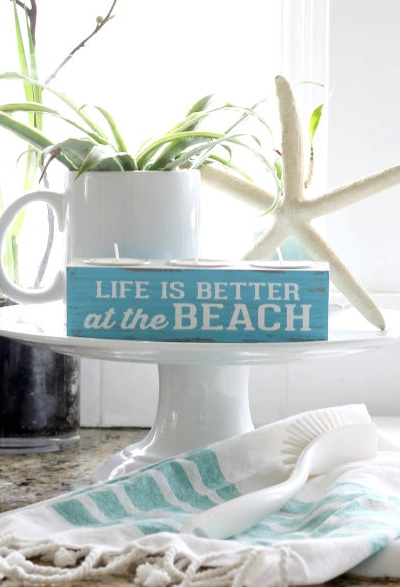 Wood Block Tea Light Candle Holder Blue Beach Life Quote