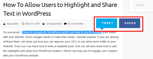 share text in wordpress