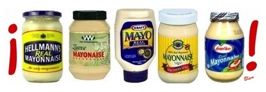 five jars of different brands of mayonnaise, a.k.a. simply 'mayo', between an upside-down exclamation point and a right-side-up exclamation point, as if in Spanish