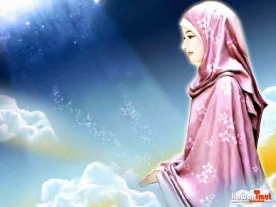 kartun muslimah cantik berdoa