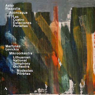 Piazzolla's Aconcagua: concerto for bandoneon and orchestra performed by Martynas Levickis (accordion), Lithuanian Symphony Orchestra, conductor Modestas Pitrenas, and Las Cuatro Estaciones Portenas with Levickis and Mikroorkestra on Accentus (ACC30552)