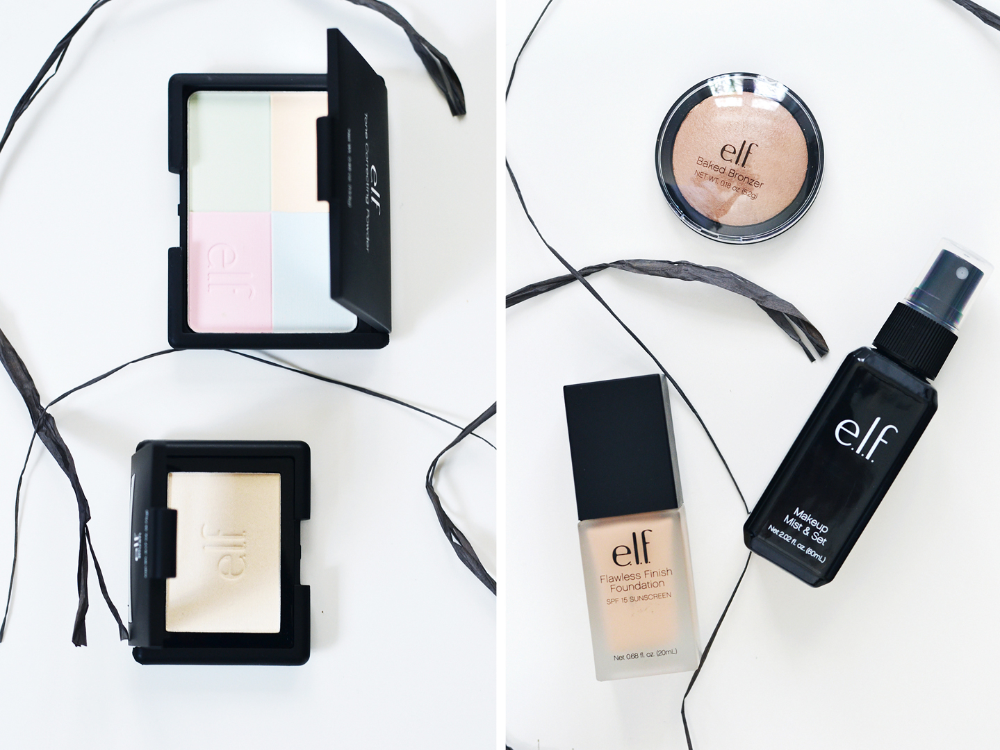 E.L.F. correcting powder, flawless finish foundation, fond de teint, fixing spray, mist, highlighter, gotta glow, nars dupe, albatross, bronzer, st-lucia,