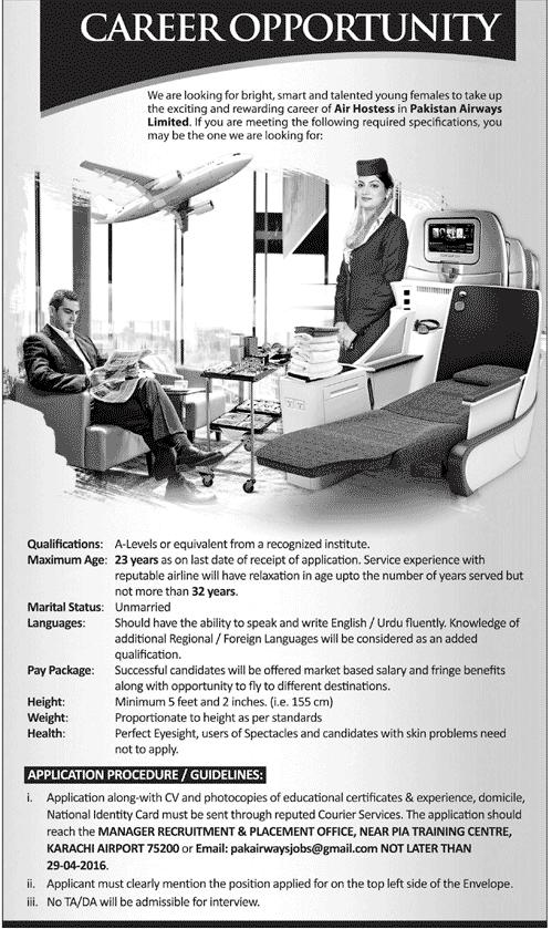 Air Hostess Jobs in Pakistan Airways for Females Jobs