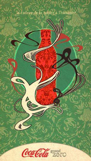 Cartel o poster  ilustrado de coca-cola