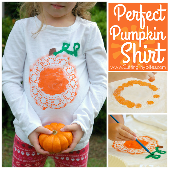 Perfect Pumpkin Shirt- great fall craft for kids! Your preschooler, kindergartner, or elementary child will love to make one for autumn or Halloween!