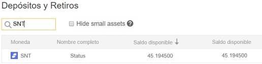 fondos de moneda Status SNT en monedero wallet de Binance