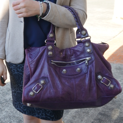 Balenciaga raisin purple 2009 giant silver hardware work bag for the office | away from the bleu
