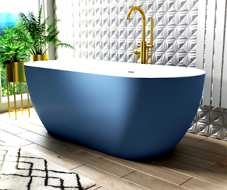 blue-porcelain-bathtub