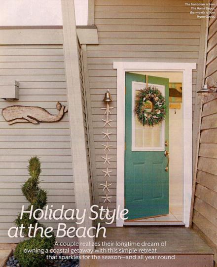 Coastal Christmas Front Door Decorations Wreath Starfish Garland