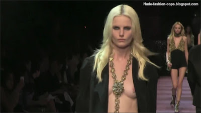 nude fashion model on the catwalk