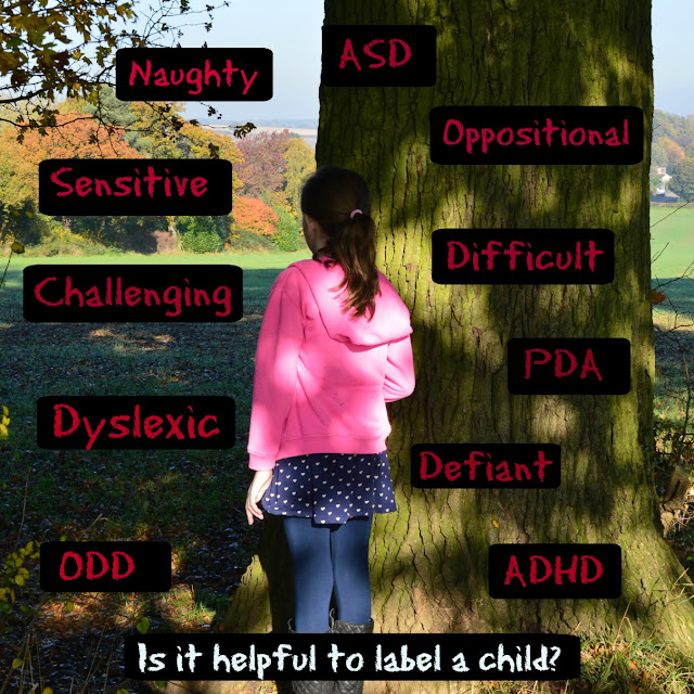 girl at tree with labels in picture