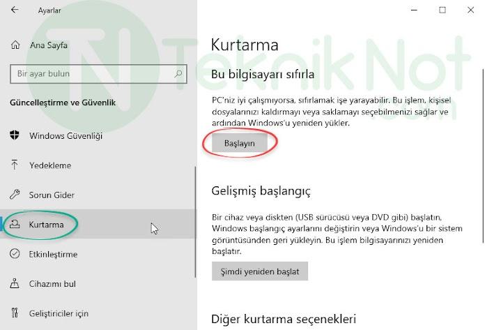 Windows 10 Dosyaları Silmeden Sıfırlama