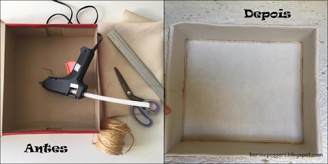 como fazer um organizador com caixa de sapato