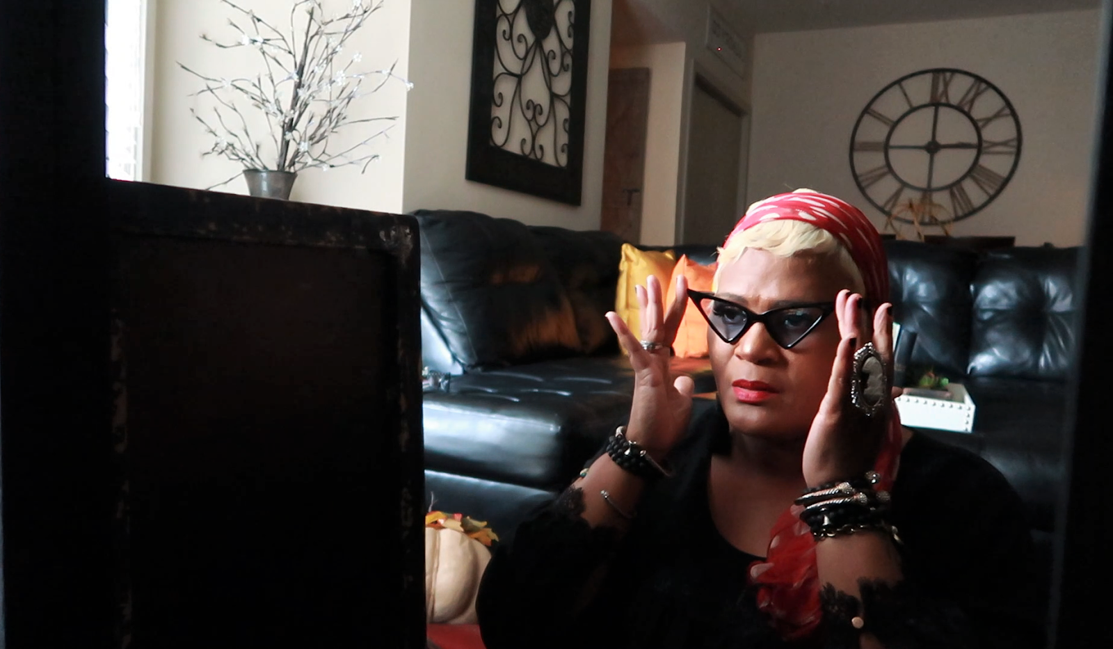 Using vintage glasses and head wraps for bad hair days